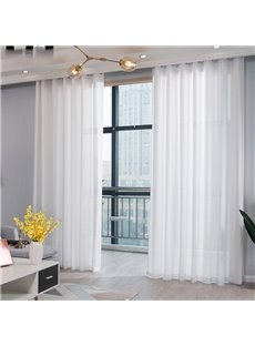 Linen White Sheer Curtains 2 Panels 84W 84L Semi Transparent Voile Curtains Handy Feeling Eco-friendly Filters Daylight and UV Ray