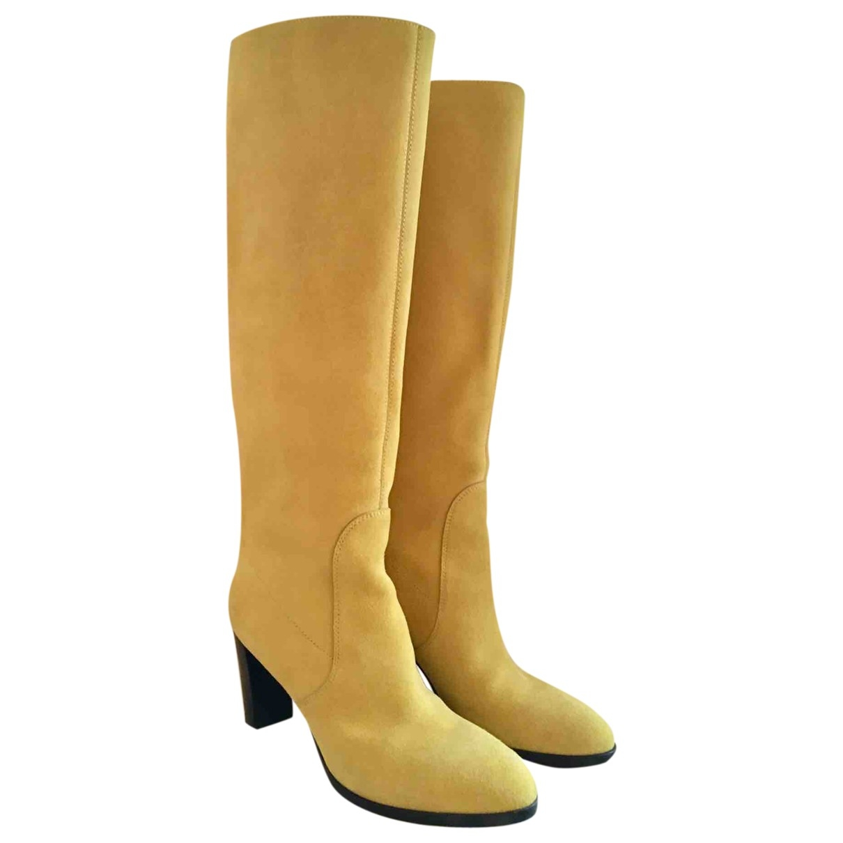 Sergio Rossi \N Yellow Suede Boots for Women 37.5 EU