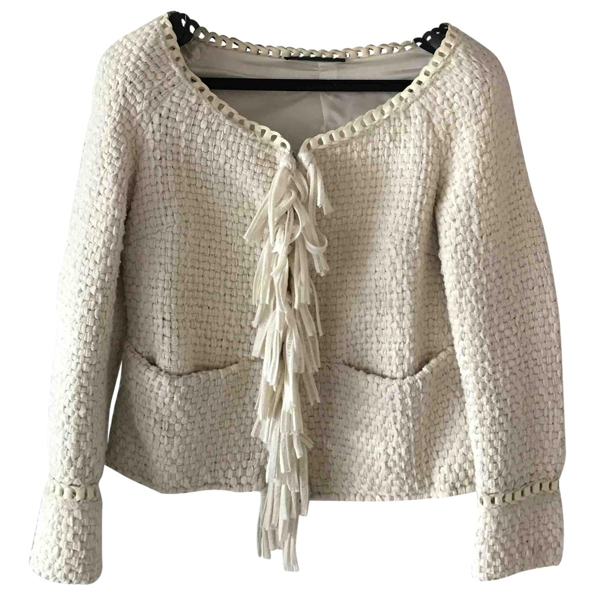 Non Signé / Unsigned \N Ecru Wool jacket for Women 42 IT