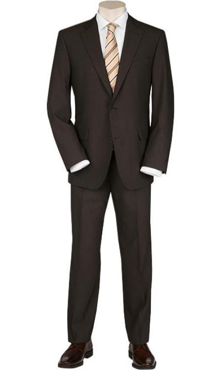Mens Solid Brown Quality 2 Buttons Portly Suits