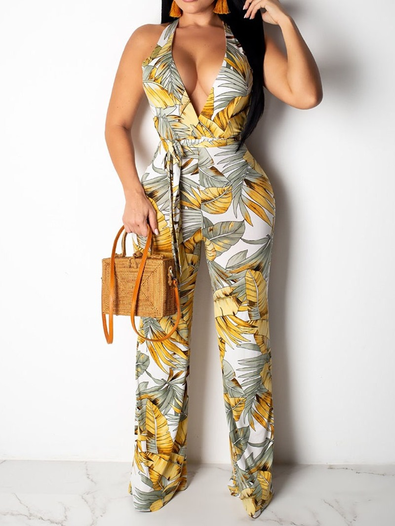 Ericdress African Style Lace-Up Belt Slim Sexy Jumpsuit