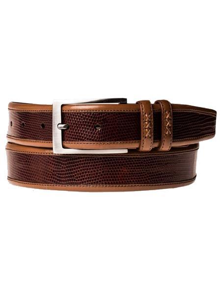 Mezlan Brand Men's Genuine Lizard / Calfskin Tan Skin Belt