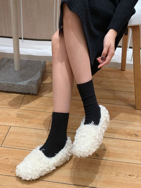 Milanoo Faux Fur Loafers White Round Toe Slip On Winter Shoes