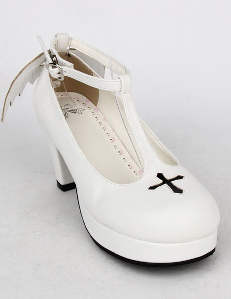 Milanoo White PU Prism Heel Lolita Shoes for Girls