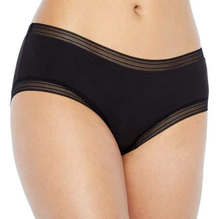 Ambrielle Lace Trim Cotton Hipster Panty, Small , Black