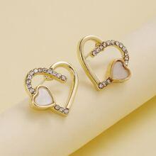 Rhinestone Decor Heart Stud Earrings