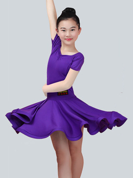 Milanoo Dance Costumes Latin Dancer Dresses Kids Plum Short Sleeve Ballroom Dancing Wears For Girls Halloween