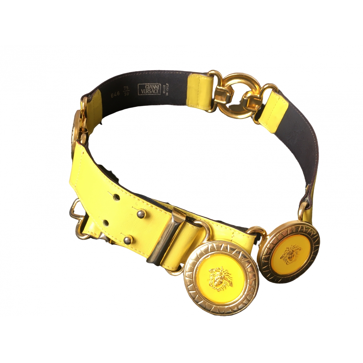 Gianni Versace \N Yellow Leather belt for Women 75 cm
