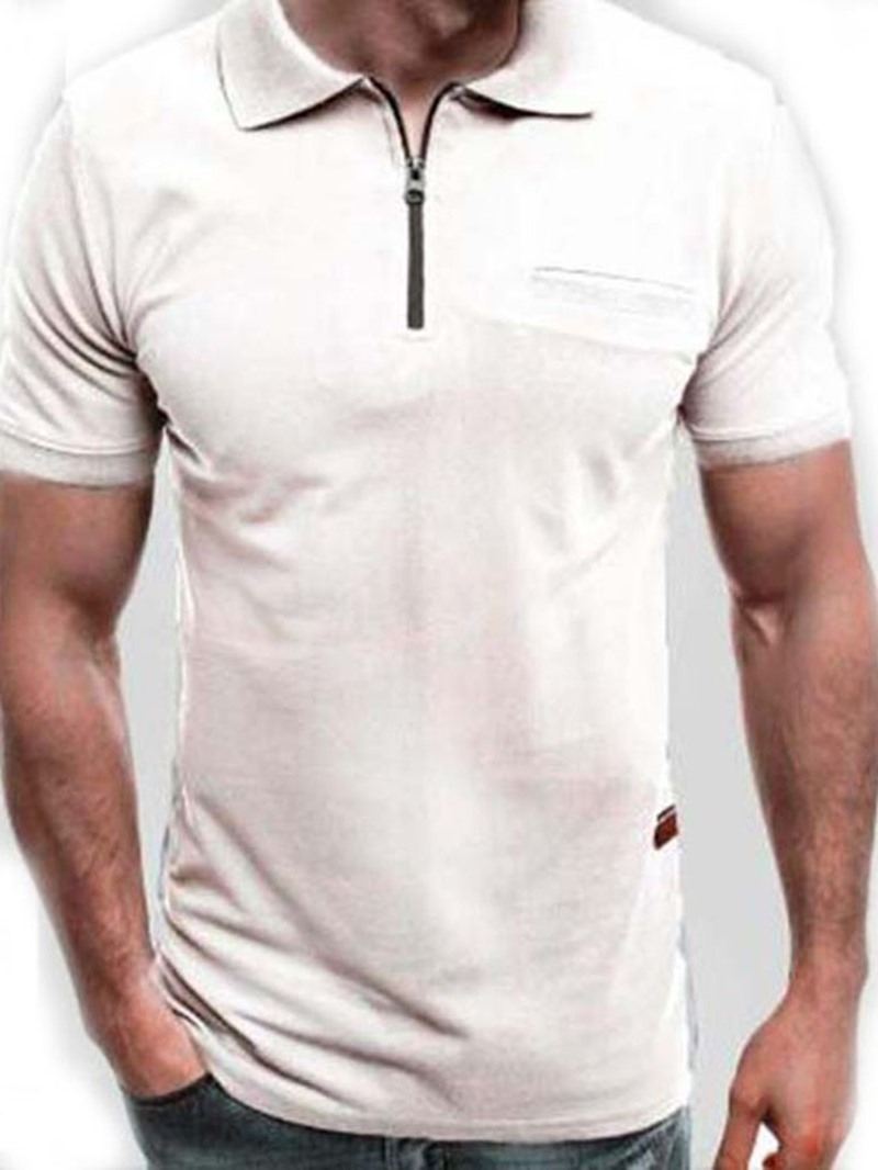 Ericdress Polo Neck Plain Casual Polo Shirt