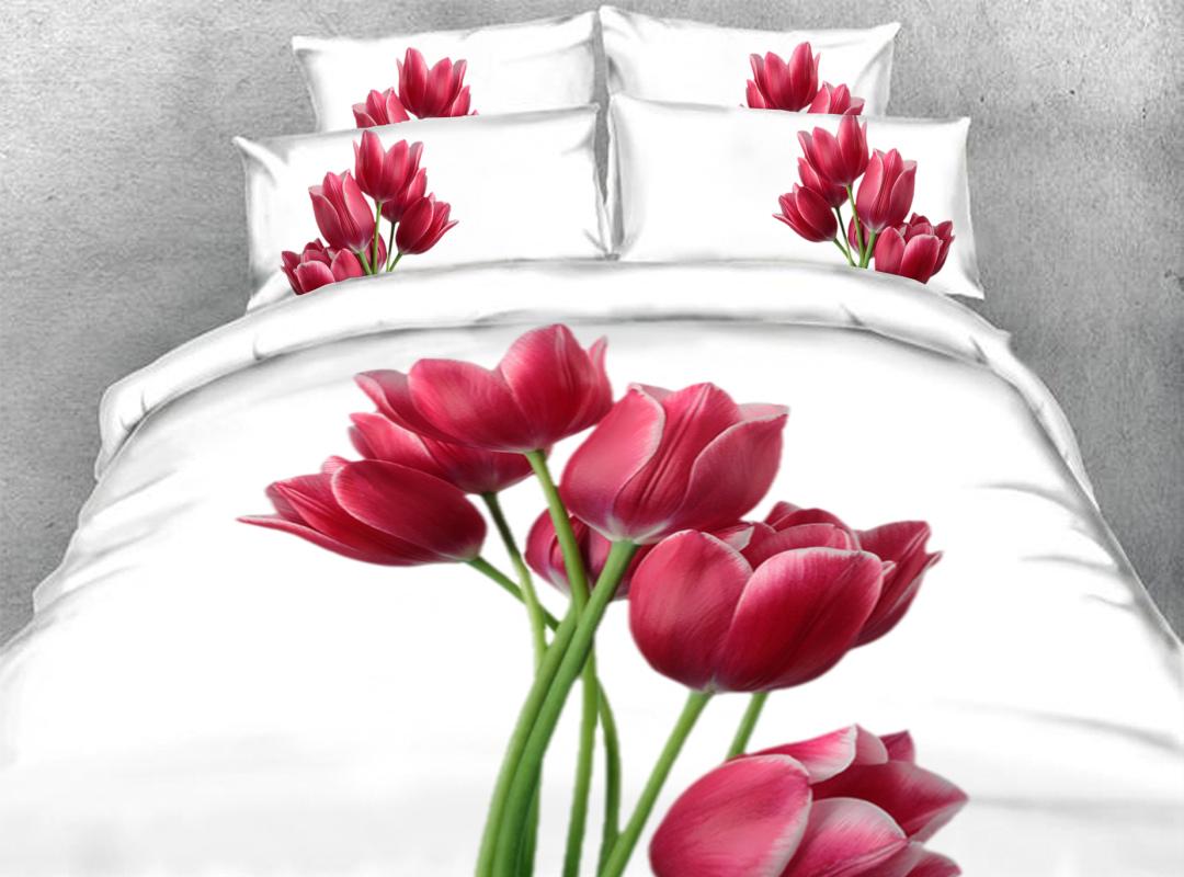 Tulip 3D Zipper Duvet Cover 4-Piece Warm Soft Floral Bedding Sets with Corner Ties