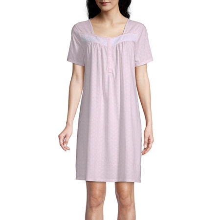 Adonna Womens Short Sleeve Square Neck Nightgown, Medium , Pink