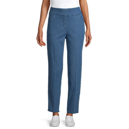 Alfred Dunner Panama City Womens Straight Pull-On Pants, 12 Short , Blue