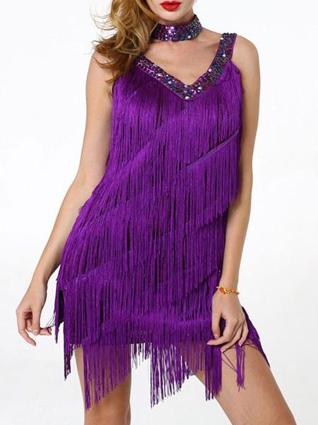 Milanoo Latin Dance Costumes V Neck Fringe Sequin Studded Women Dress Dancing Wears Halloween