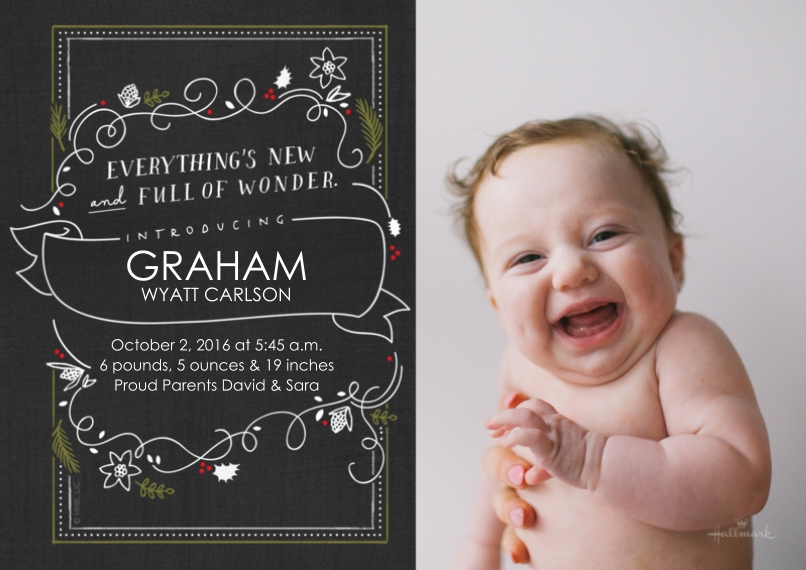 Newborn Flat Matte Photo Paper Cards with Envelopes, 5x7, Card & Stationery -Holly Wonder Chalkboard