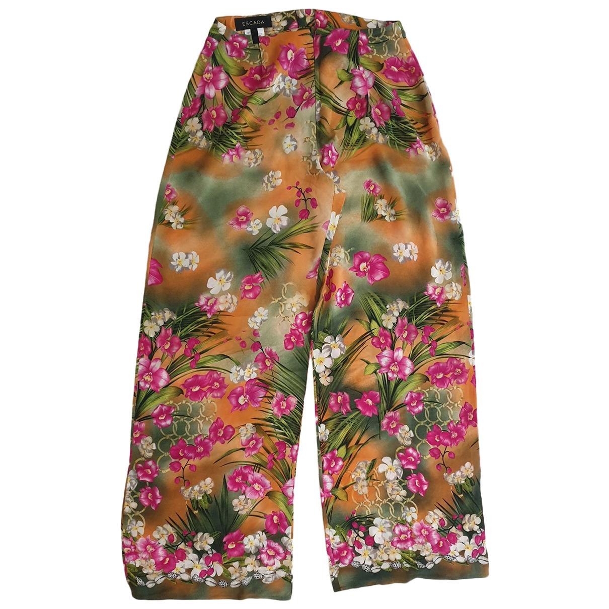 Escada \N Green Silk Trousers for Women 34 FR