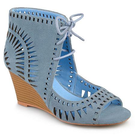 Journee Collection Womens Zola Pumps Wedge Heel, 7 1/2 Medium, Blue