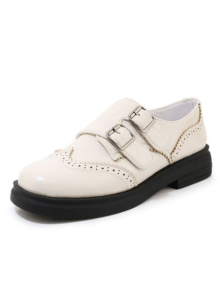 Milanoo Women\'s Academic Loafers Round Toe Casual Shoes With Buckles