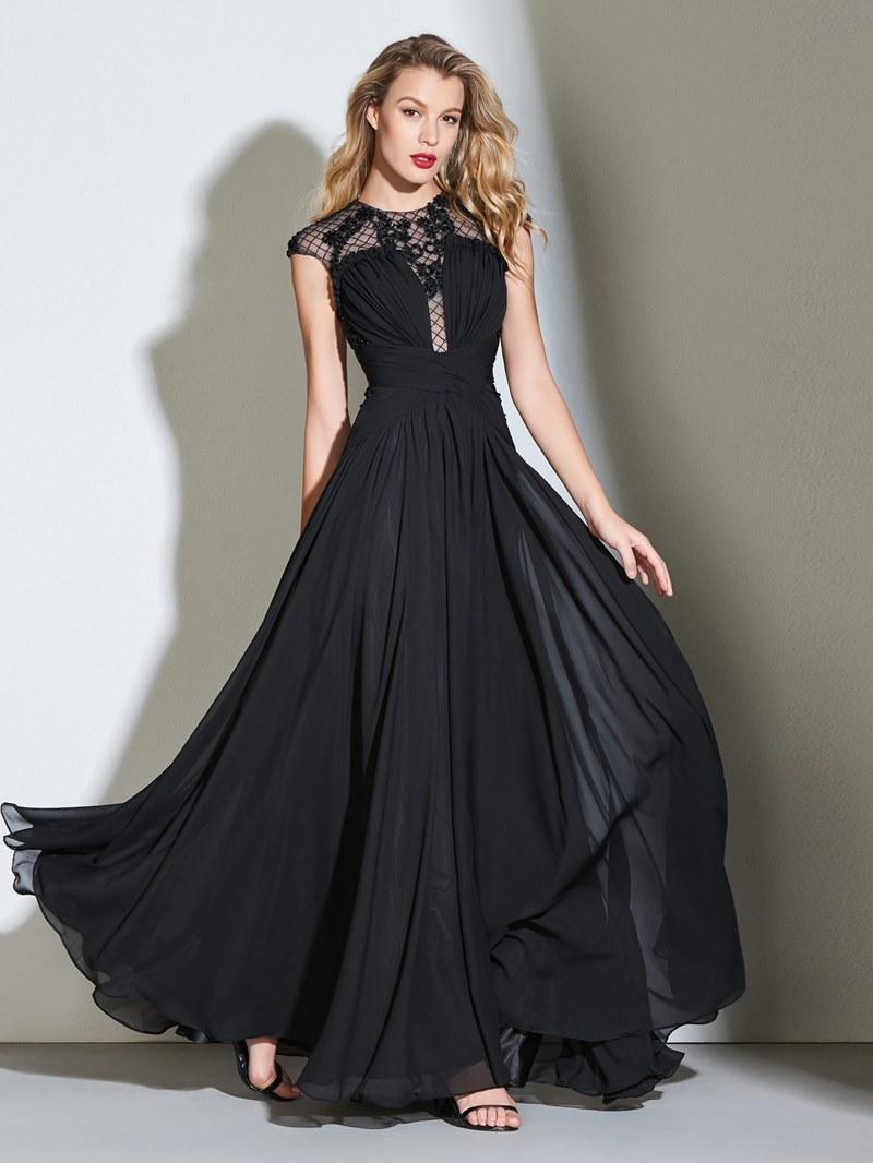 Ericdress A Line Cap Sleeve Beaded Black Prom Dress