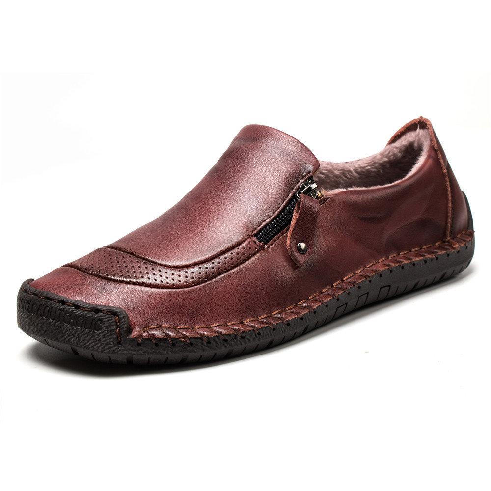 Men Hand Stitching Warm Plush Lining Flat Zipped Leather Casual Shoes