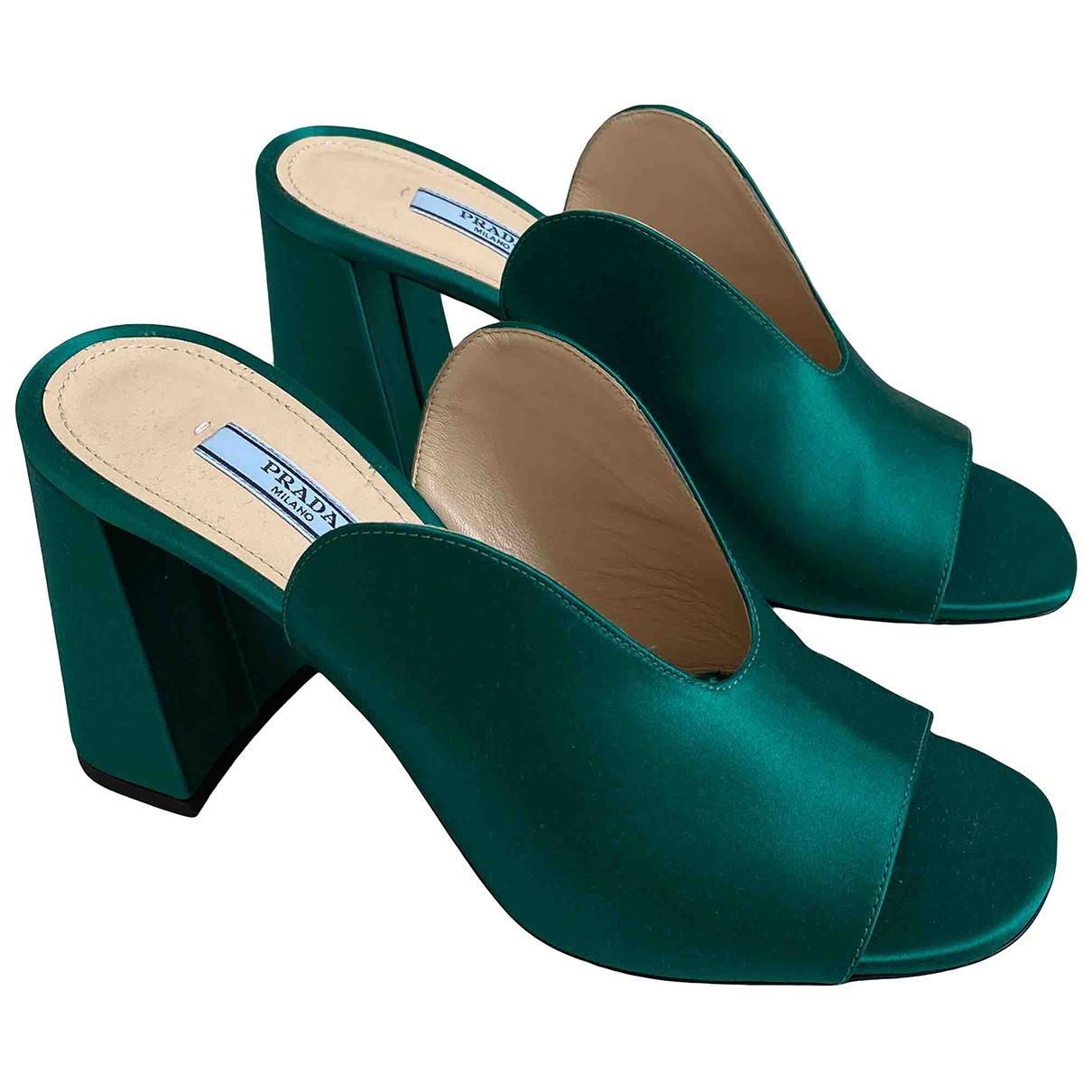 Prada \N Green Cloth Sandals for Women 37 EU