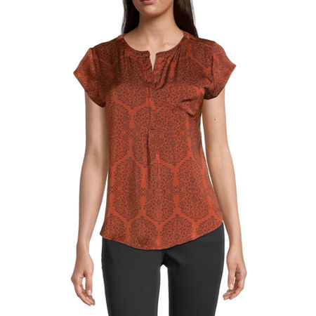 Liz Claiborne Cap Sleeve Popover - Plus, Small , Orange