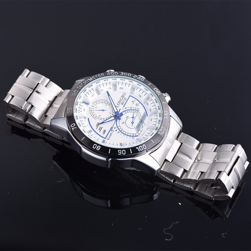 LONGBO Charming Mens Watches Stainless Steel Luminous Waterproof Silver Watches for Men