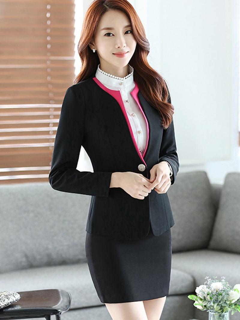 Ericdress Simple Color Block Blazer Formal Suit