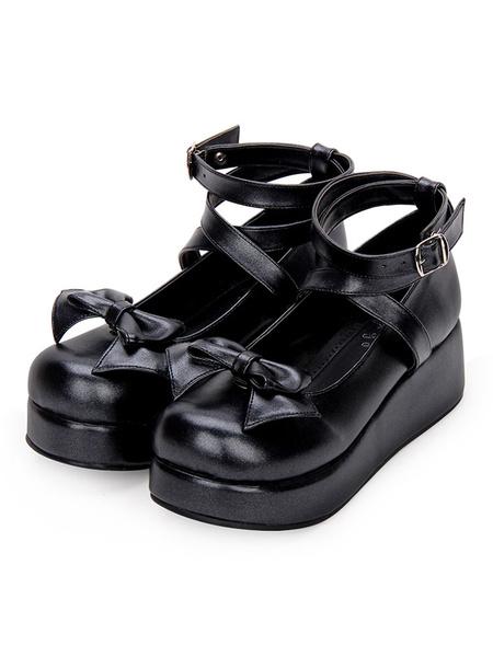 Milanoo Sweet Lolita Pumps Bow Strappy Platform White Lolita Shoes