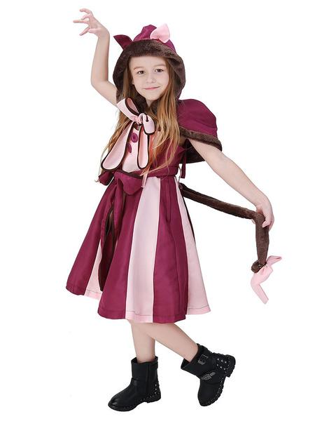 Milanoo Alice In Wonderland Cosplay Wears Cheshire Cat Purple Dress Kids Costumes Outfits