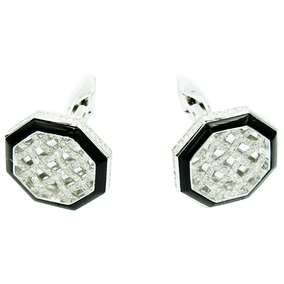 Non Signé / Unsigned \N Silver White gold Cufflinks for Men \N