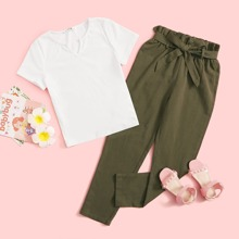 Girls Notch Neck Tee and Paperbag Waist Pants Set