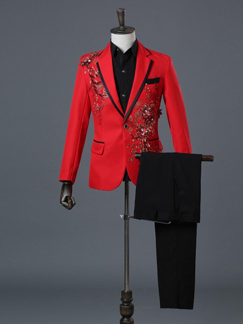 Ericdress Print Solid Tailored-Fit Men's 2 Piece Suit
