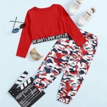 Toddler Girls Letter Taped Tee And Camo Print Pants Set