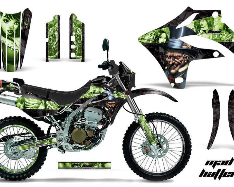 AMR Racing Graphics MX-NP-KLX250S-04-07-HAT G K Kit MX Decal Wrap + # Plates For Kawasaki KLX250S 2004-2007áHATTER GREEN BLACK