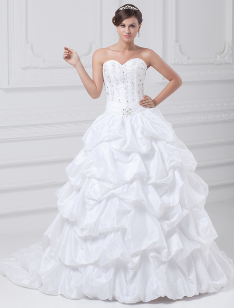 Milanoo White Ball Gown Embroidered Taffeta Wedding Dress For Bride