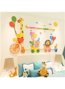 Cartoon Zoo Acrylic Wall Stickers Living Room Bedroom TV Wall Background 3D Animal Wall Decoration
