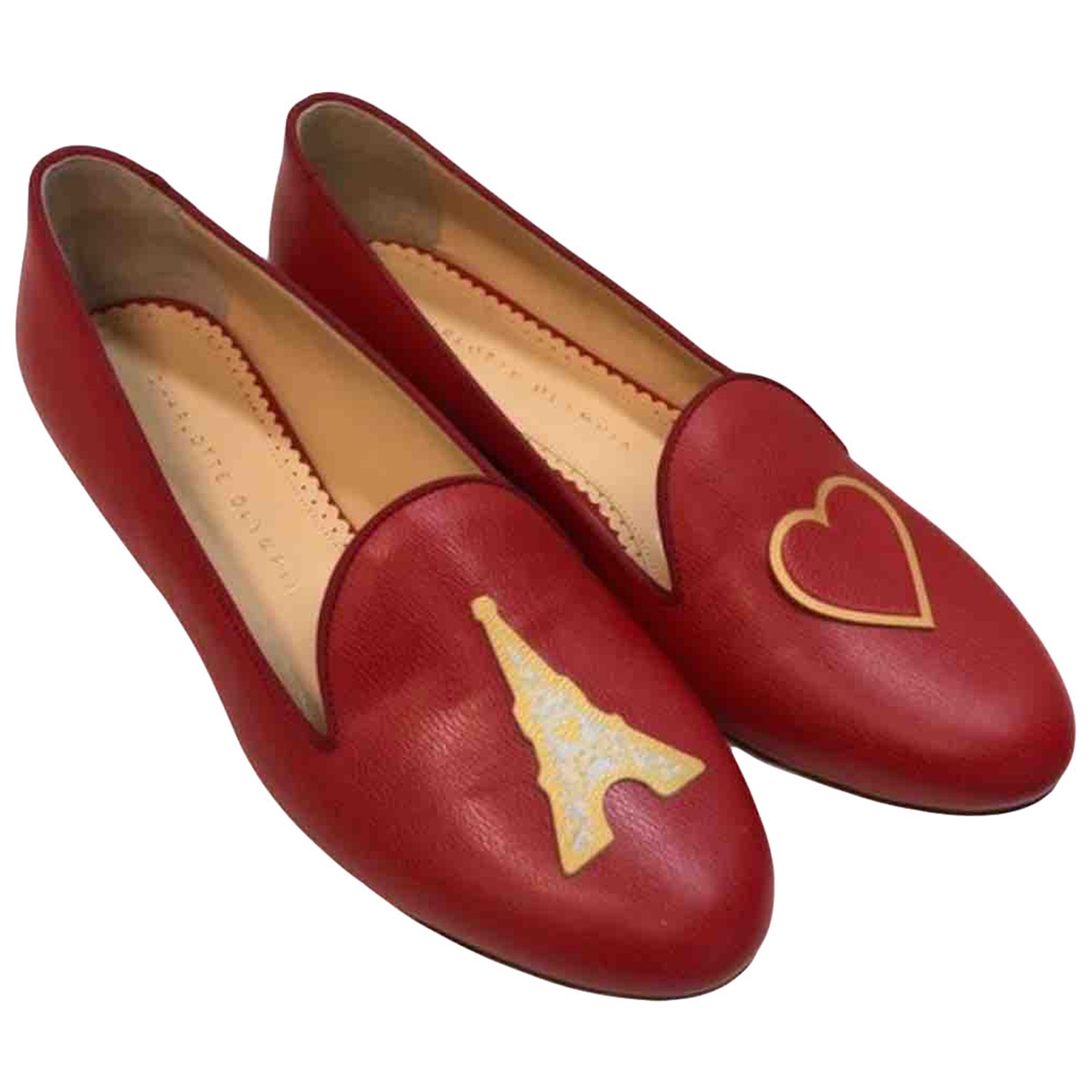 Charlotte Olympia \N Red Leather Flats for Women 37 EU