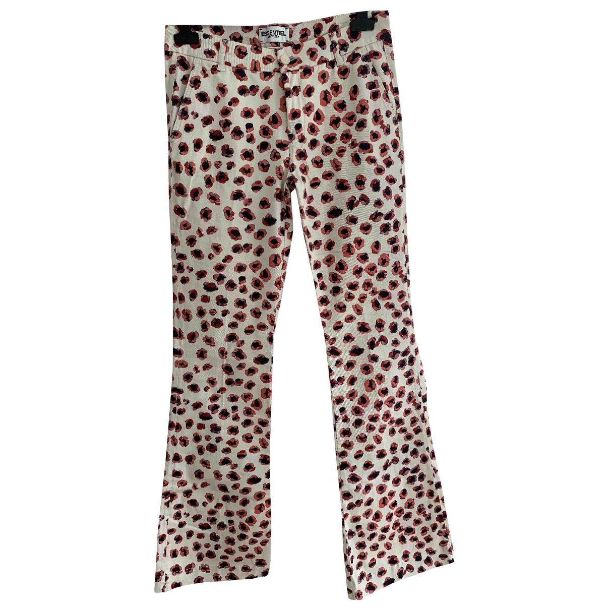 Essentiel Antwerp \N Ecru Cotton Trousers for Women 40 FR