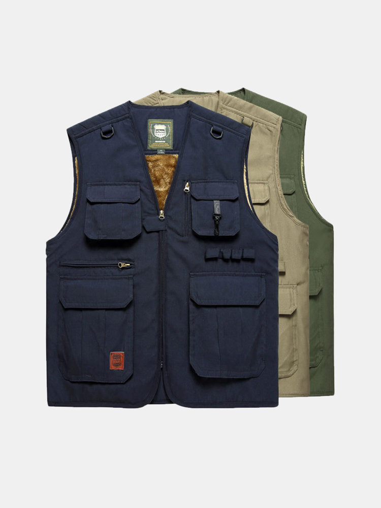 Men's Mutil-Pockets Outdoor Slim Fit V-neck Collar Waistcoat Thicken Fleece Vest