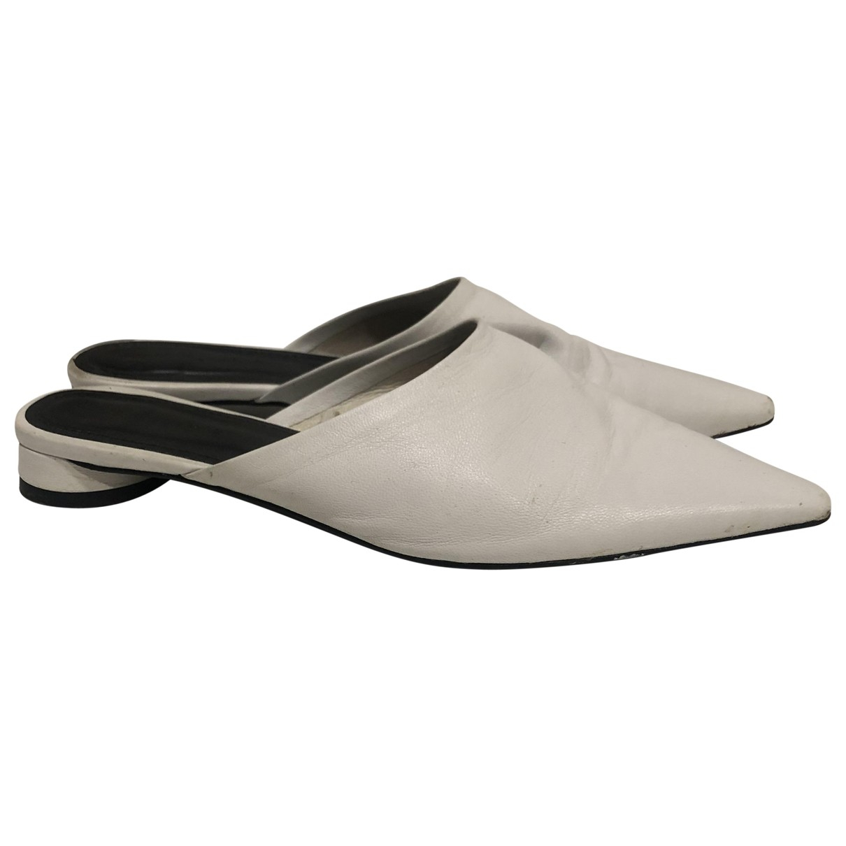 Zara \N White Patent leather Flats for Women 37 EU
