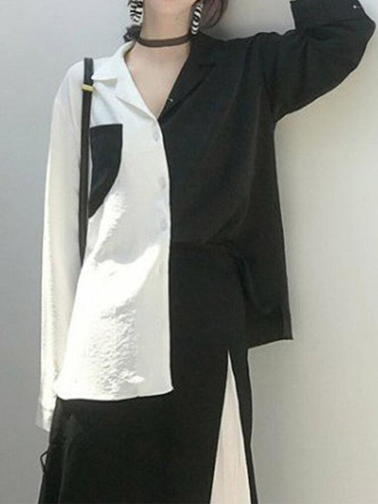 Fashion Patchwork Long Sleeve Lapel Plus Size Shirt With Pocket