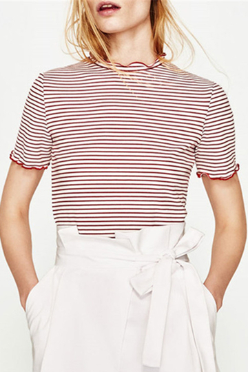 Yoins Red Stripe Round Collar Casual T-Shirt