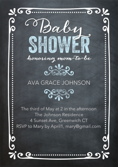 Baby Shower Invitations Flat Matte Photo Paper Cards with Envelopes, 5x7, Card & Stationery -Baby ShowerChalkboard