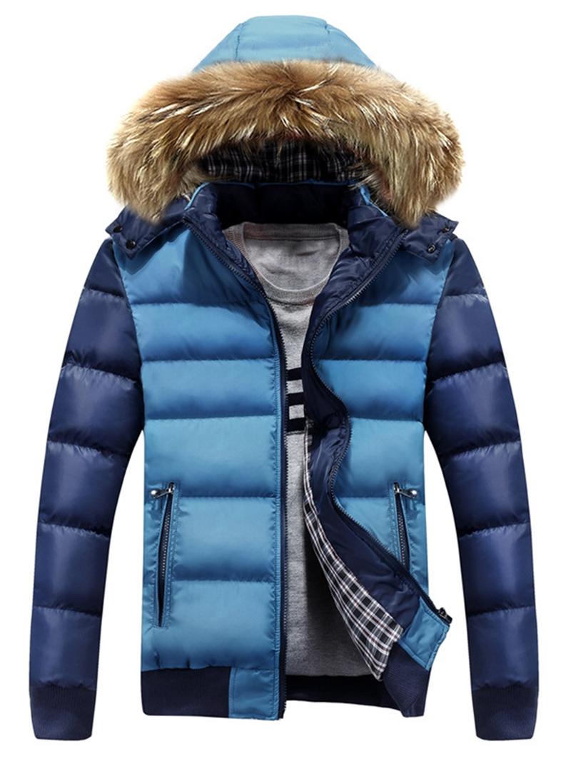 Ericdress Thicken Warm Hooded Faux Fur Collar Men's Winter Coat