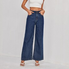 Dark Wash Pocket Back Wide Leg Jeans