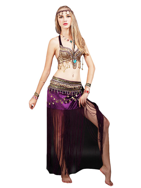 Milanoo Belly Dance Costume Fringe Women Dancing Wear With Coin