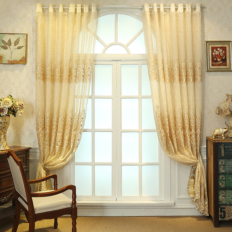 Decoration Polyester Artificial Embroidery European Style Beige Plants and Flowers Sheer Curtain