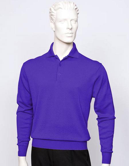 Tulliano mens Purple long sleeve silk/cotton fine gauge knitwear