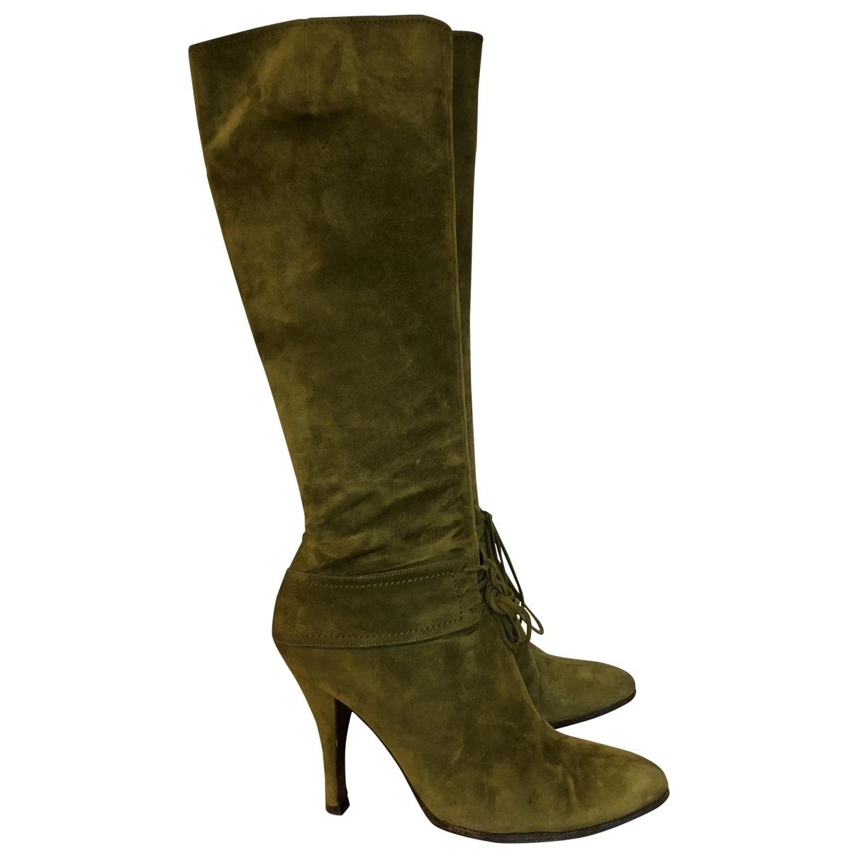Sergio Rossi \N Khaki Suede Boots for Women 39 EU