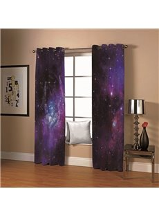 3D Printed Purple Starry Sky Fantastic Living Room Bedroom Blackout Window Scenery Curtains 260g/㎡ Thick Polyester for Better Shading Effect